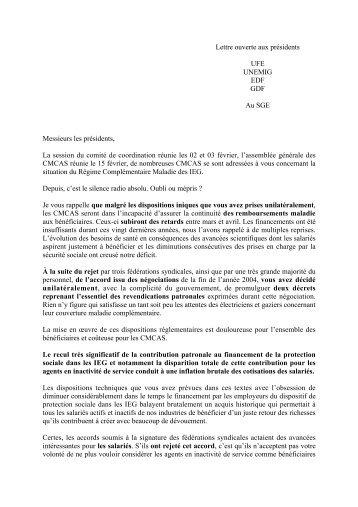 Lettre ouverte aux présidents UFE UNEMIG EDF GDF Au ... - CCAS