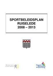 SPORTBELEIDSPLAN RUISELEDE 2008 – 2013