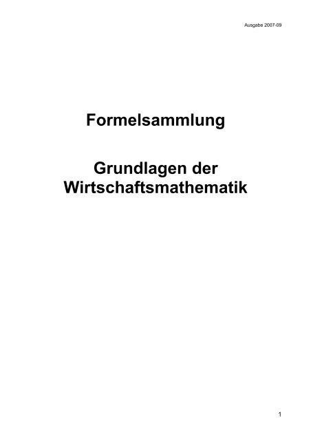 Formelsammlung Grundlagen der Wirtschaftsmathematik - Aklimex.de