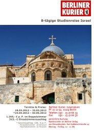 8-tägige Studienreise Israel - Leserreisen