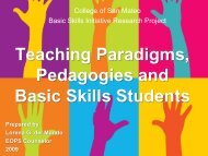 Teaching Paradigms, Pedagogies and Basic Skills Students