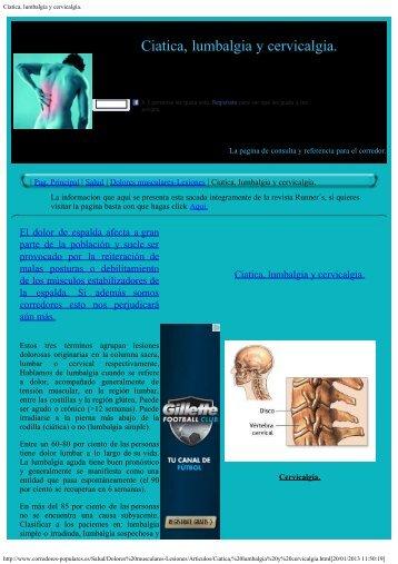 Ciatica, lumbalgia y cervicalgia. - corredores-populares.