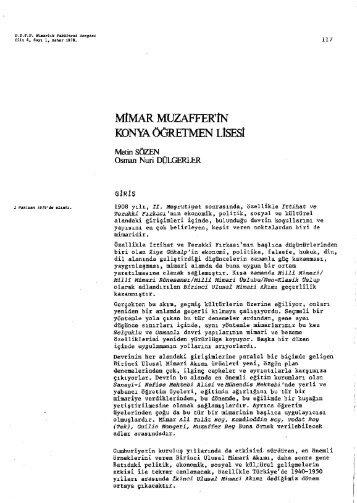 Metin SÖZEN, Osman Nuri DÜLGERLER Mimar Muzaffer'in Konya ...