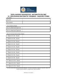 başvuru formu - Doğu Akdeniz Üniversitesi