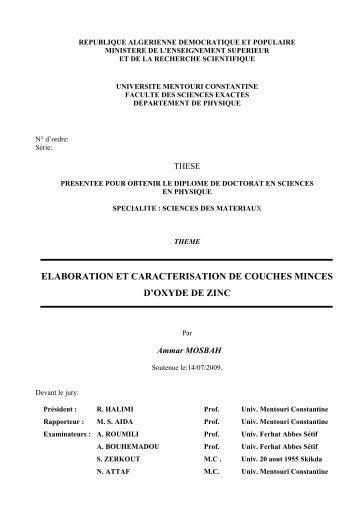 elaboration et caracterisation de couches minces d'oxyde de zinc