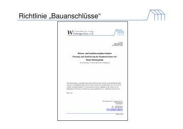 """Richtlinie """"Bauanschlüsse"""" - Bundesverband Wintergarten eV"""