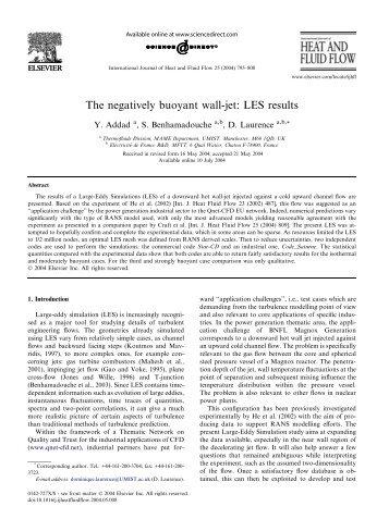 The negatively buoyant wall-jet - Turbulence Mechanics/CFD Group