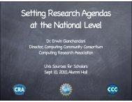 Presentation - 9-9-2010 - Computing Research Association