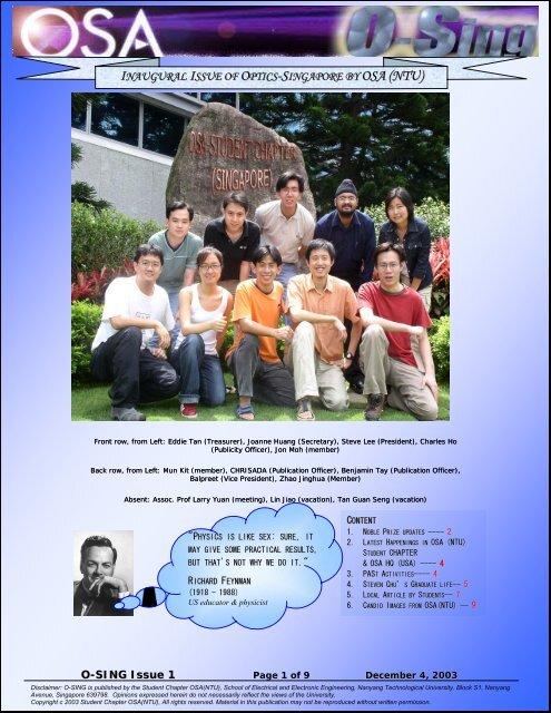1st ISSUE,November 2003 - Nanyang Technological University