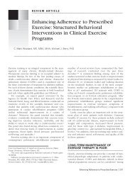 Enhancing Adherence to Prescribed Exercise: Structured Behavioral ...