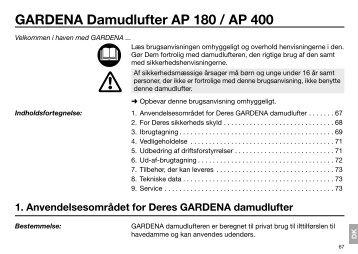 OM, Gardena, Damudlufter AP 180 / AP 400, Art 07942-20, Art ...