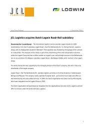 JCL Logistics acquires Dutch Logwin Road+Rail subsidiary