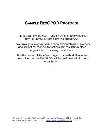 SAMPLE RESQPOD PROTOCOL - Bound Tree Medical
