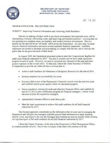 OCT 1 3 2011 - Office of the Under Secretary of Defense (Comptroller)
