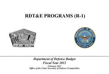 rdt&e programs (r-1) - Office of the Under Secretary of Defense ...