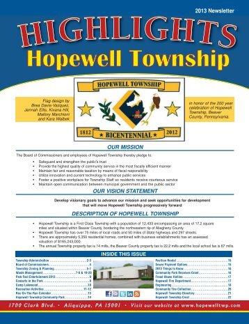 2013 Newsletter 1 - Hopewell Township