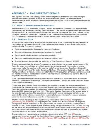 APPENDIX C ? FIAR STRATEGY DETAILS - Office of the Under ...