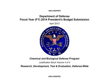 Chemical and Biological Defense Program - Office of the Under ...