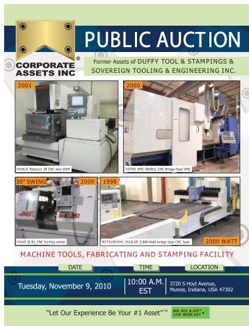 Machine tools, fabricating and stamping facility - Corporate Assets Inc.