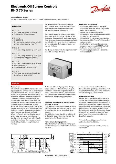 Electronic Oil Burner Controls BHO 70 Series - Danfoss com