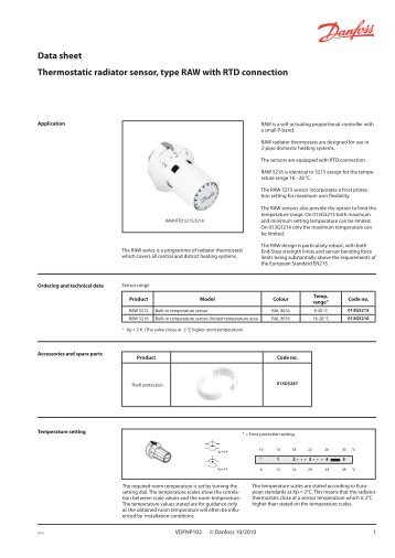 Instruction Radiator Thermostat Ras C2 Combi Danfoss