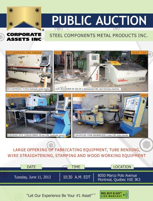 Steel Components Metal Products Inc Corporate Assets Inc