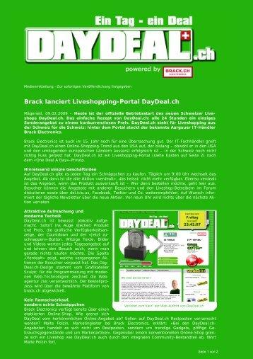 Brack lanciert Liveshopping-Portal DayDeal.ch - Brack Electronics AG
