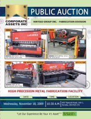 high precision metal fabrication facility - Corporate Assets Inc.
