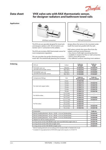 Data sheet VHX valve sets with RTX temperature