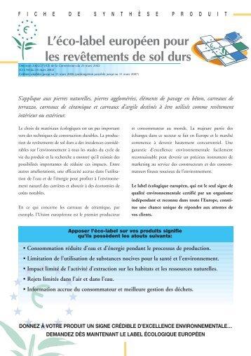 Revêtements de sol durs - Ecolabel