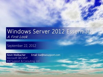 Windows Server 2012 Essentials - KW Support & Consulting LLC