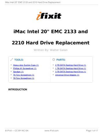 "iMac Intel 20"" EMC 2133 and 2210 Hard Drive Replacement - iFixit"