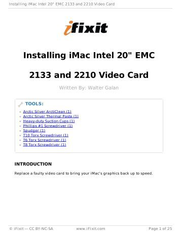 "Installing iMac Intel 20"" EMC 2133 and 2210 Video Card - iFixit"
