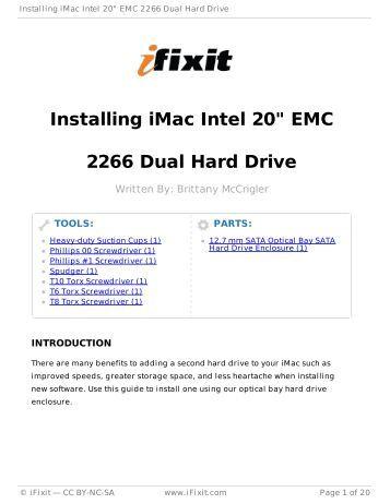 "Installing iMac Intel 20"" EMC 2266 Dual Hard Drive"