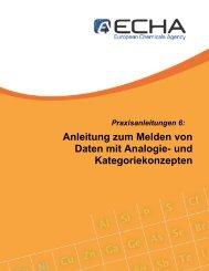 Anleitung zum Melden von Daten mit Analogie ... - ECHA - Europa