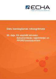 Datu iesniegšanas rokasgrāmata - ECHA - Europa