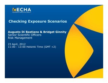 Checking Exposure Scenarios - ECHA