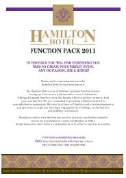 Hamilton Hotel Functions Package JULY 2011 FINAL.ai