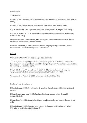 Litteraturliste: Anerkjennelse: Honneth, Axel (2006 ... - KoRus Bergen