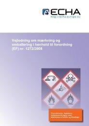 Vejledning om mærkning og emballering i henhold ... - ECHA - Europa