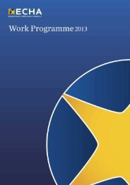 Work Programme 2013 - ECHA - Europa