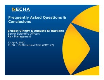 Frequently Asked Questions & Conclusions - ECHA - Europa