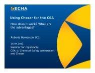 Using Chesar for the CSA - ECHA - Europa