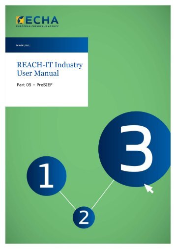 "REACH-IT Industry User Manual on ""Pre-SIEF"" - ECHA - Europa"
