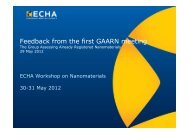 Presentation on Feedback from the first GAARN meeting - ECHA