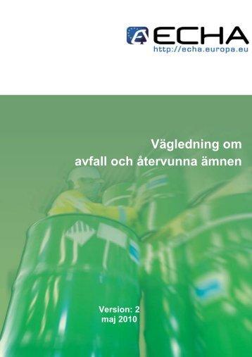 Vägledning om avfall och återvunna ämnen - ECHA - Europa