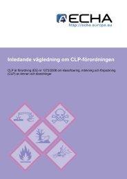Inledande vägledning om CLP-förordningen - ECHA - Europa