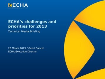 ECHA's challenges and priorities for 2013 - ECHA - Europa