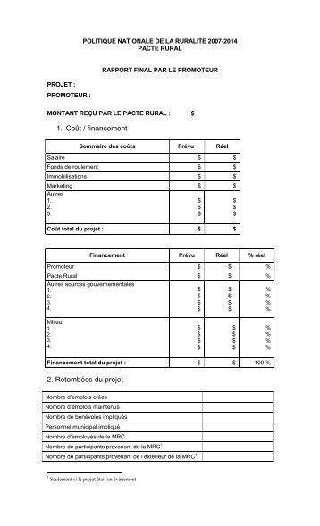 Rapport final de projet - MRC de La Jacques-Cartier