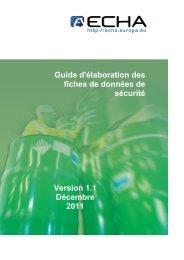 Guide d'élaboration des fiches de données sécurité - ECHA - Europa